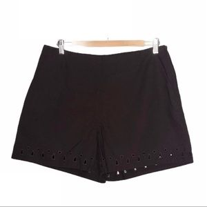 H&M High Rise Cut-out Eyelet Shorts Brown Size 12